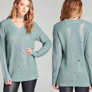 Sweaters - Dusty Turquoise Distressed Knit V-Neck Sweater